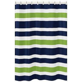 Navy & Lime Stripe Shower Curtain
