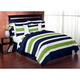 Navy & Lime Stripe Comforter Set - 3 Piece Full/Queen Size By Sweet Jojo Designs