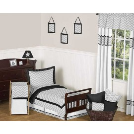 Zig Zag Black & Gray Chevron Print Toddler Bed Set