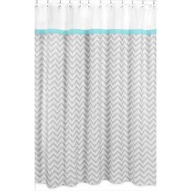 Zig Zag Turquoise & Gray Chevron Print Shower Curtain