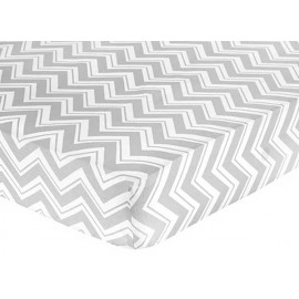 Zig Zag Yellow & Gray Chevron Print Crib Sheet