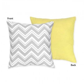 Zig Zag Yellow & Gray Chevron Print Accent Pillow