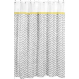 Zig Zag Yellow & Gray Chevron Print Shower Curtain