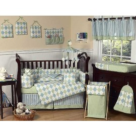 Blue and Green Argyle Crib Bedding Set by Sweet Jojo Designs - 9 piece