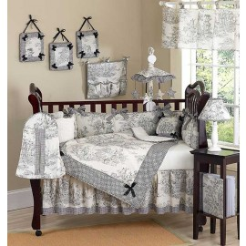 Black French Toile Crib Bedding Set by Sweet Jojo Designs - 9 piece