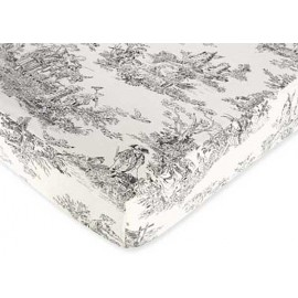 Black French Toile Crib Sheet