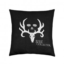 Bone Collector Black Square Pillow - Black w/Grey Logo