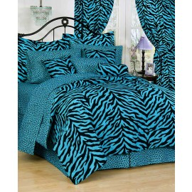 Blue Zebra Print Bed in a Bag Set - Twin Size