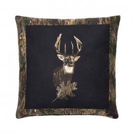 Camo Deer by Browning Square Pillow - Black