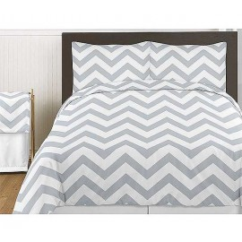 Grey & White Chevron Print Comforter Set - Twin Size