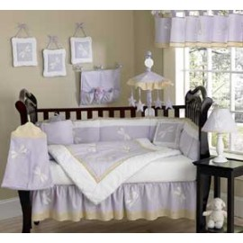 Lavender Dragonfly Dreams Crib Bedding Set by Sweet Jojo Designs - 9 piece
