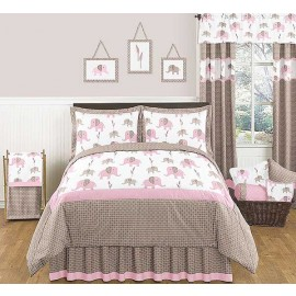 Elephant Pink & Taupe Comforter Set - 3 Piece Full/Queen Size By Sweet Jojo Designs