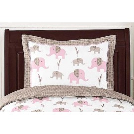 Elephant Pink & Taupe Pillow Sham