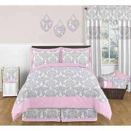 Pink & Gray Elizabeth Comforter Set - 3 Piece Full/Queen Size By Sweet Jojo Designs*
