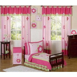 Flower Pink And Green Toddler Bedding Set By Sweet Jojo Designs