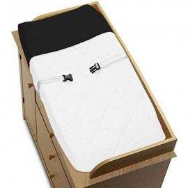 Hotel White & Black Changing Pad Cover