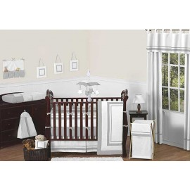 Hotel White & Gray Baby Bedding Set by Sweet Jojo Designs - 9 piece