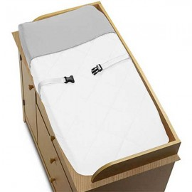 Hotel White & Gray Changing Pad Cover