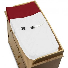 Hotel White & Red Changing Pad Cover