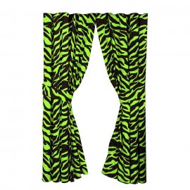 Black & Lime Green Zebra Print Drapes