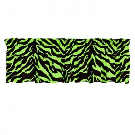 Black & Lime Green Zebra Print Valance