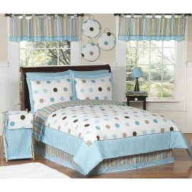 Blue and Brown Mod Dots Comforter Set - 3 Piece Full/Queen Size By Sweet Jojo Designs