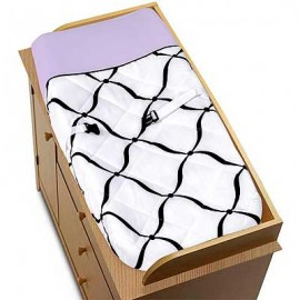Princess Black, White and Purple Changing Pad Cover