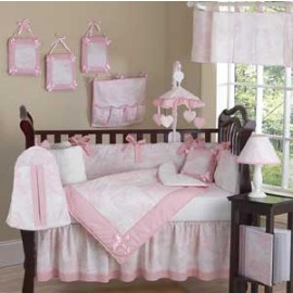 Pink French Toile Crib Bedding Set by Sweet Jojo Designs - 9 piece