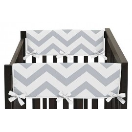 Chevron Gray & White Collection Side Rail Guard Covers - Set of 2
