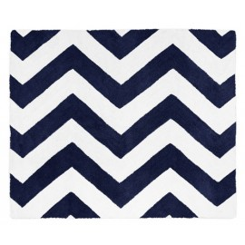 Navy & White Chevron Floor Rug
