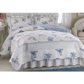 Rose Blossom Blue Twin Quilt