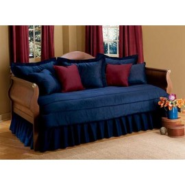 200 Thread Count Solid Color Daybed Set - 5 Piece Combo Set (Ruffled Bedskirt/Tailored Shams) - Choose from 20 Colors