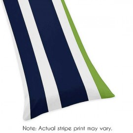 Navy & Lime Stripe Body Pillow Cover