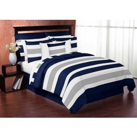 Navy & Gray Stripe Bedding Set - 4 Piece Twin Size By Sweet Jojo Designs