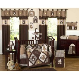 Teddy Bear Chocolate Crib Bedding Set by Sweet Jojo Designs - 9 piece