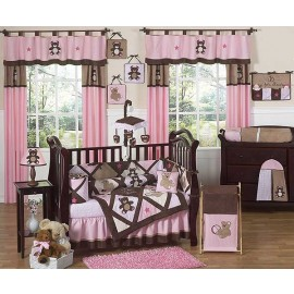 Teddy Bear Pink Crib Bedding Set by Sweet Jojo Designs - 9 piece