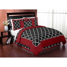 Red & Black Trellis Bedding Set - 4 Piece Twin Size By Sweet Jojo Designs