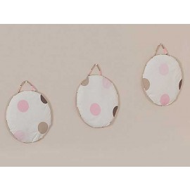 Pink and Brown Mod Dots Wall Hanging