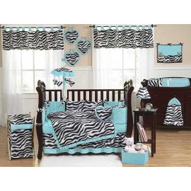 Blue Zebra Crib Bedding Set by Sweet Jojo Designs - 9 piece