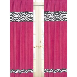 Hot Pink Zebra Window Panels