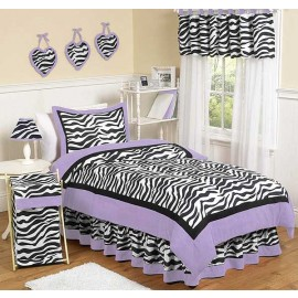 Purple Zebra Bedskirt - Queen Size