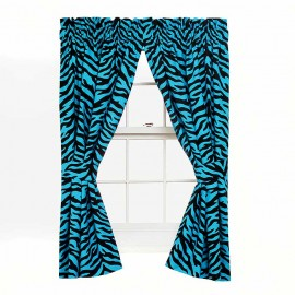 Blue Zebra Print Drapes