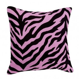 Black & Pink Zebra Print Square Accent Pillow