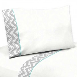 Zig Zag Turquoise & Gray Chevron Print Sheet Set