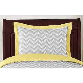 Zig Zag Yellow & Gray Chevron Print Pillow Sham