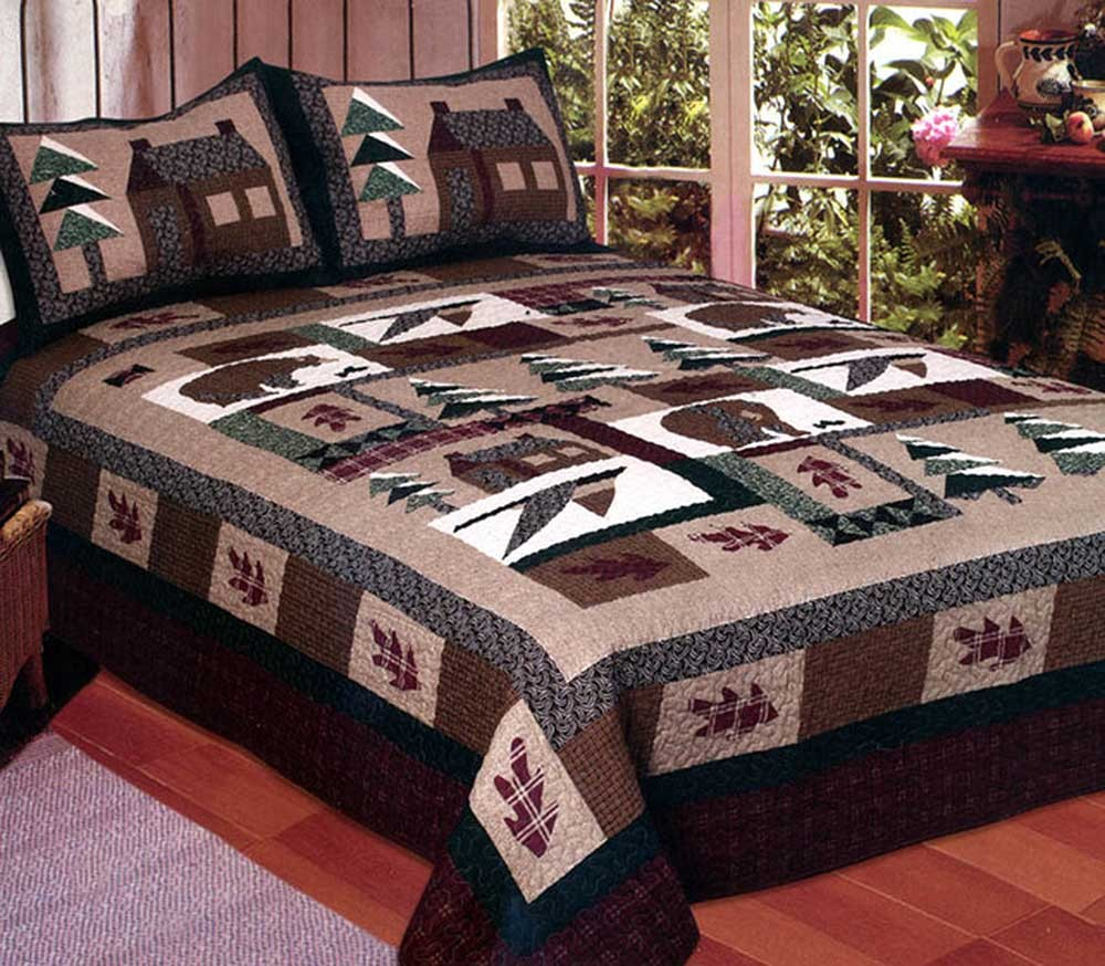 Winter Cabin Quilt American Hometex Quilts Full Size