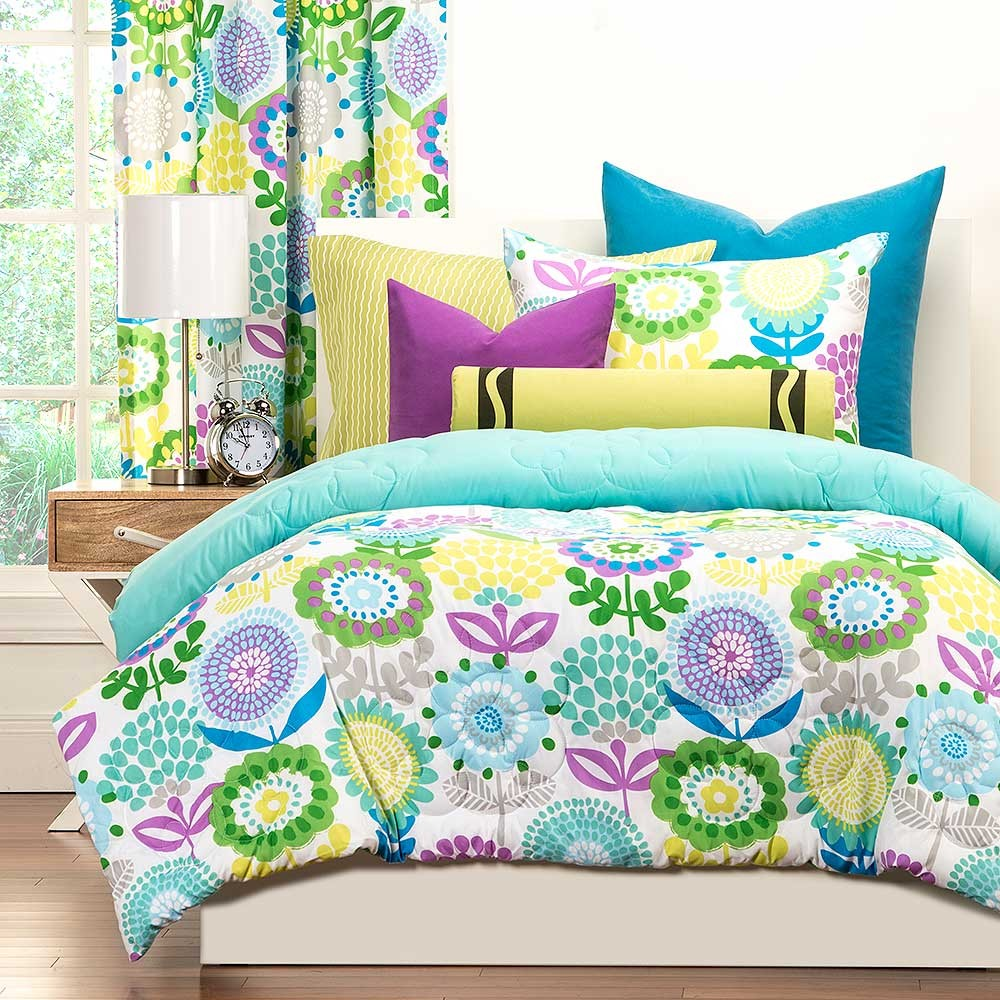Crayola pointillist pansy comforter set blanket warehouse - Cute teenage girl bedding sets ...