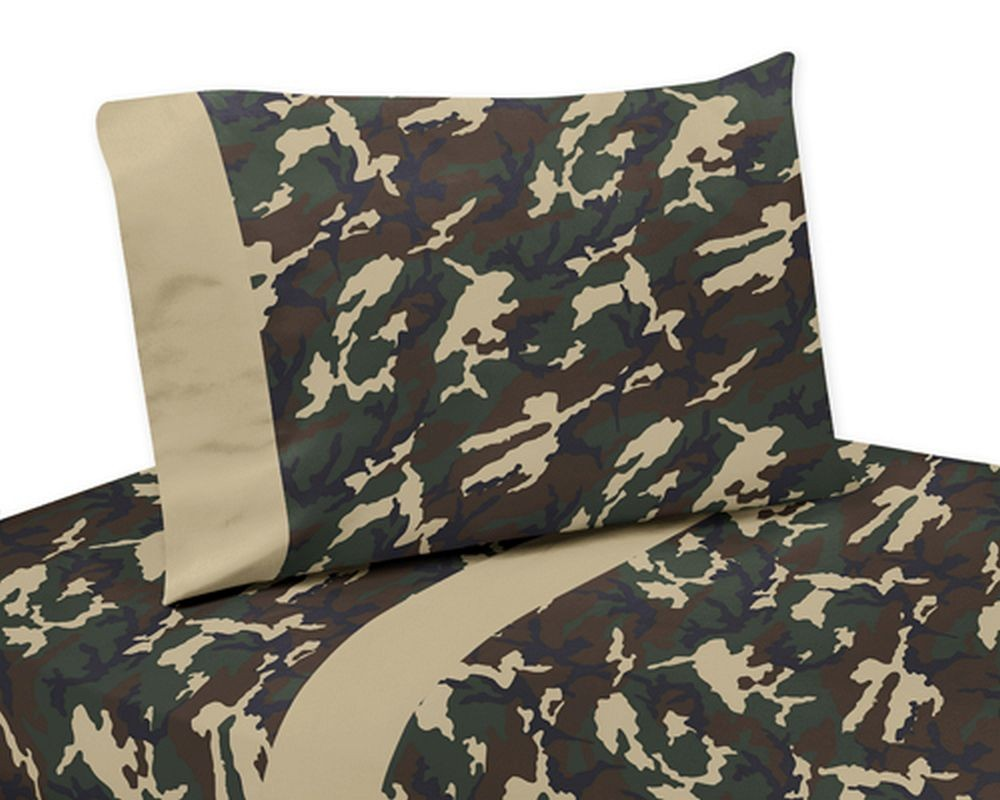 Green Camouflage Comforter Set 4 Piece Twin Size By