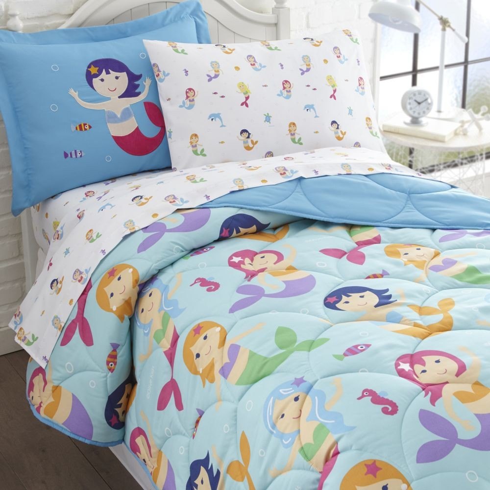 olive kids mermaids twin size 5 piece bed in a bag set