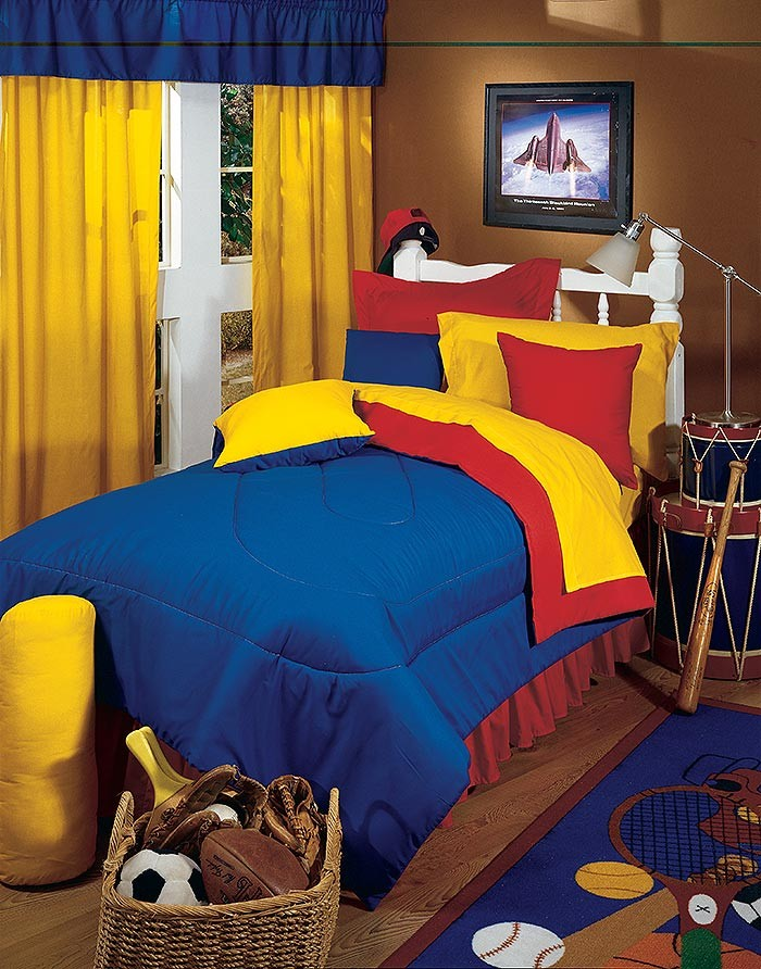 Primary Colors Comforter Yellow Blue Twin Size Kids